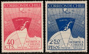 CHILE 247-248, CHILE'S CLAIM TO THE ANTARTIC. MNH VF. (313)