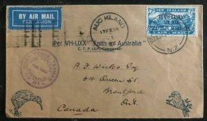 1934 Wellington New Zealand Trans tasman To Canada FFC First Flight Cover # C5