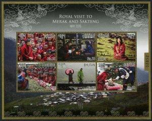 HERRICKSTAMP NEW ISSUES BHUTAN Sc.# 1540 Royal Visit 2015 Sheetlet