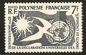 Fr. Polynesia 191 Mint OG 1958 Human Rights Issue