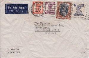 India 1/2a, 2a, 8a and 1R KGVI 1947 Calcutta, G.P.O., Air-A Airmail to Bound ...