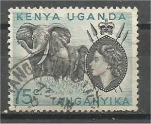 KENYA, UGANDA, TANZANIA, 1959, used 15c, Elephants. Scott 106