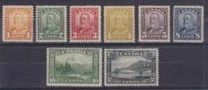 Canada Sc 149-156 MNH. 1928-1929 KGV Scroll, short set to 12c value F-VF