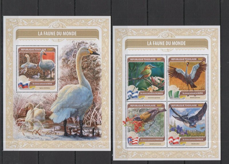 TG251 2016 TOGO FAUNA OF WORLD NATIONAL ANIMALS & BIRDS OF RUSSIA KB+BL MNH
