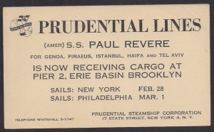 #UX27 shipper's card w SS Paul Revere PRUDENTIAL LINES advertisement 1950 VF