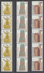 COLLECTION LOT # 1276 GERMANY 15 MH STAMPS IN STRIP OF 5 1988 CV+$29