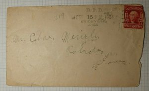 US RFD Machine Cancel Unionville IA 1904 Toledo Received Back Stamp