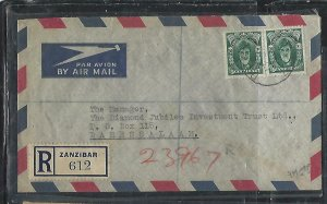 ZANZIBAR  (PP2608B)  1954   30CX2 REG A/M        COVER TO  DAR ES SALAAM