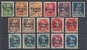 Bavaria Sc 256-275 used 1920 Deutsches Reich ovpts cplt incl shades, F-VF