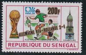 Senegal # 406, Soccer Stamp Surcharged, NH, 1/2 Cat.