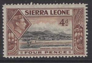 SIERRA LEONE SG193 1938 4d BLACK & RED-BROWN MTD MINT