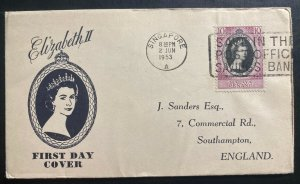 1953 Singapore Malaya first day cover FDC Queen Elizabeth II Coronation QE To UK