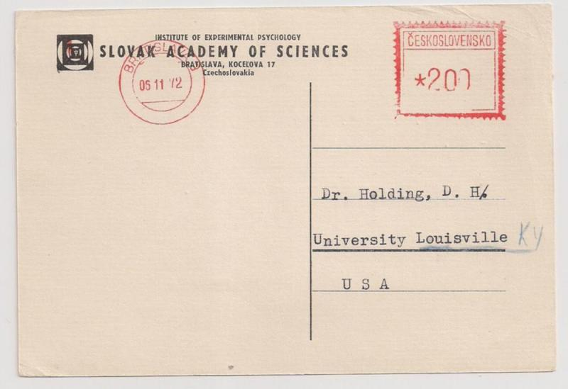 CZECHOSLOVAKIA meter stamp on Slovak Academy of Science Card