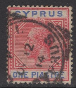 CYPRUS SG77 1912 1pi ROSE-RED & BLUE USED