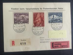 1949 Vaduz Lichtenstein First Day cover to Langenthal # 240-242 Express Mail