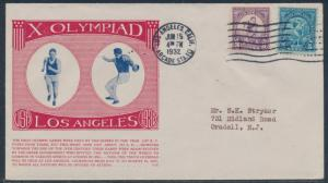 #718-719 1932 OLYMPICS ON TRUBY FIRST DAY COVER CACHET CV $300 BU2418