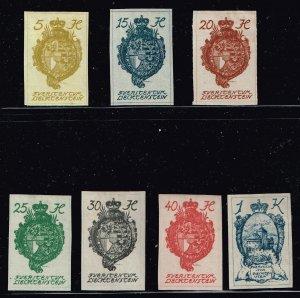 Liechtenstein Stamp 1920 National Arms & Castle in Vaduz MH/OG STAMP 7 STAMPS