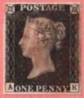GBR SC #1 (A,K) 1840 Queen Victoria 4 margins w/lt. stn on bk + sm