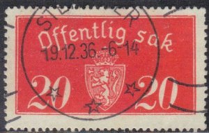 NORWAY SC# O14 *USED*  20o 1933-34 SEE SCAN