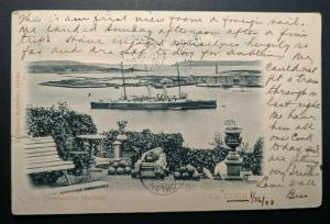 1903 Queenstown Harbour Co Cork Ireland to New York Real Picture Postcard Cover