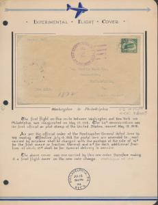 #C2 FIRST FLIGHT COVER 7/15/1918 VF ON EXHIBIT PAGE CV $850 HV7742