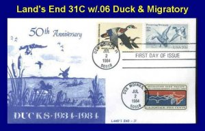 Land's End 2092 31C Ducks Preserving Wetland w/2 Other Duck Stamps LAST CACHET