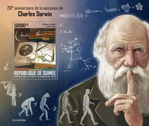 Guinea Charles Darwin Stamps 2019 MNH Famous People Science Butterflies 1v S/S