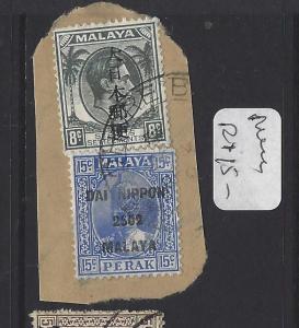 MALAYA JAPANESE OCCUPATION  (P0208B) DN PERAK 15C+STRAITS 8C KANJI PIECE VFU