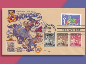 The Sound of Hooves -- US Year of the Horse Combo FDC with 3 Icelandic Ponies