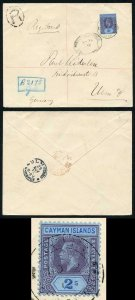 Cayman Is KGV 2/- on Kiderlen cover Registered marking R4 with GC above