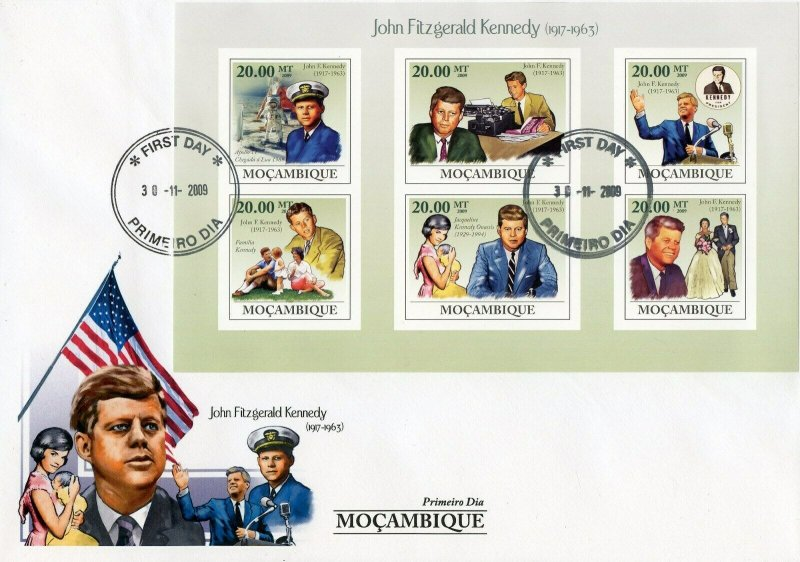 MOZAMBIQUE 2009 JOHN F.KENNEDY SHEET  FIRST DAY COVER