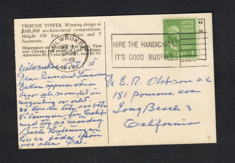 Tribune Tower 1949 Post Card Chicago IL,Scott# 80 Stamp Milwakee To Calif.