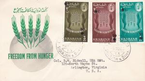 Sharjah 1963 Scott 29-35 Food Agricultural Org Freedom From Hunger FDC Surcharge