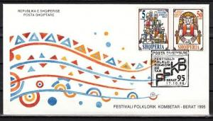 Albania, Scott cat. 2494-2495. Folklore, Men`s Choir issue. First day cover.