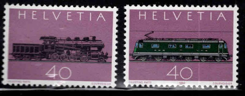 Switzerland Scott 708-709 MNH** Steam and Electric Locomotive stamp set