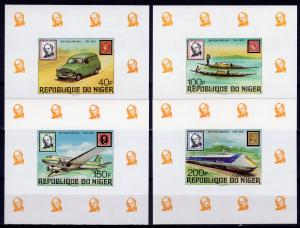 Niger 1979 Sc#474/477 Peugeot Van/Aircraft/Canoes/Train/Rowland Hill 4 SS IMPERF