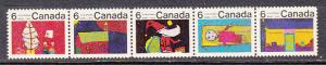 Canada 528a  1970 Christmas Strip of 5 MNH