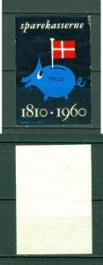 Denmark. Poster Stamp. Saving Bank 1810 - 1960. Piggy Bank Mathis. Pig,Flag