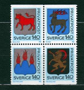 J23063 JLstamps 1982 sweden mnh set blk/4 #1403-6 arms