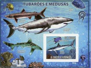 Sao Tome & Principe Marine Animals Stamps 2009 MNH Sharks & Jellyfish 1v S/S