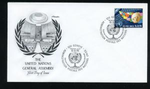 UN Geneva Scott 79 General Assembly Flags and Globe UA Artmaster cachet FDC