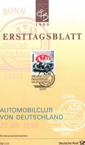 Germany 1999  Ersttagsblatt  German automobile club