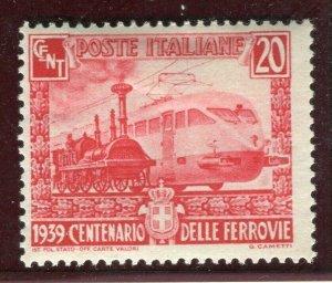 ITALY; 1939 early Italian Railways issue Mint hinged 20c. value