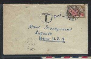 GOLD COAST (P2708B)  1955   QEII  1/2D  TAXED 40C SWEDRU TO USA