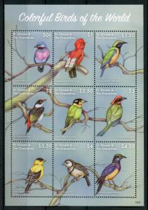 St Vincent & Grenadines Stamps 2018 MNH Colorful Birds of World Finches 9v M/S