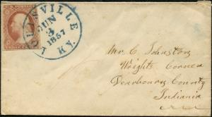 #11A ON COVER W/ BLUE LOUISVILLE, KY JUNE 3,1857 CANCEL BP9247