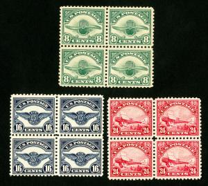 US Stamps # C4-6 XF Fresh Block of 4 OG NH Catalog Value $1,140.00