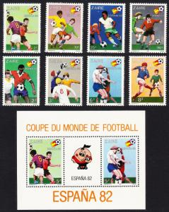 Zaire World Cup Football Championship Spain 8v+MS SG#1067-MS1075