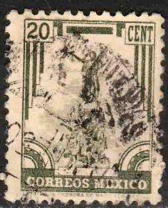 MEXICO 846, 20¢ 1934 Definitive Wmk Gobierno...279 Used F-VF. (928)