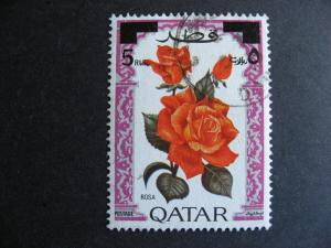 QATAR Sc 289 U rose flowers stamp overprinted, surface marks, check it out!!!